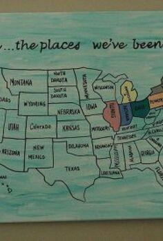 travel art, crafts, home decor, Outline with a paint pen and color in the states you ve visited