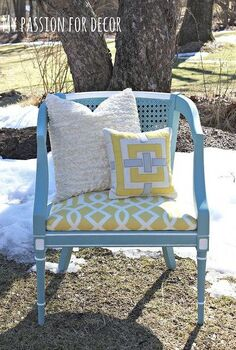 turquoise cane back chair makeover, chalk paint, home decor, outdoor furniture, painted furniture