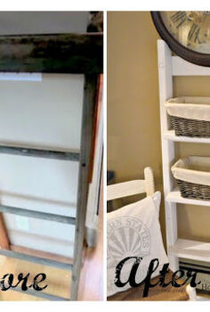 turning a found rung ladder into shelving, repurposing upcycling, shelving ideas, storage ideas, The before and after is amazing