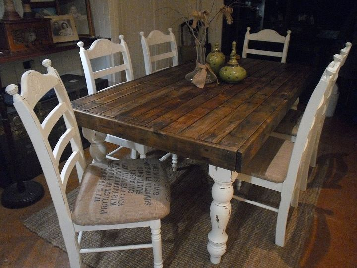 Pallet Wood Farmhouse Dining Table Painted Furniture Complete I Was Thinking Of Ditching The