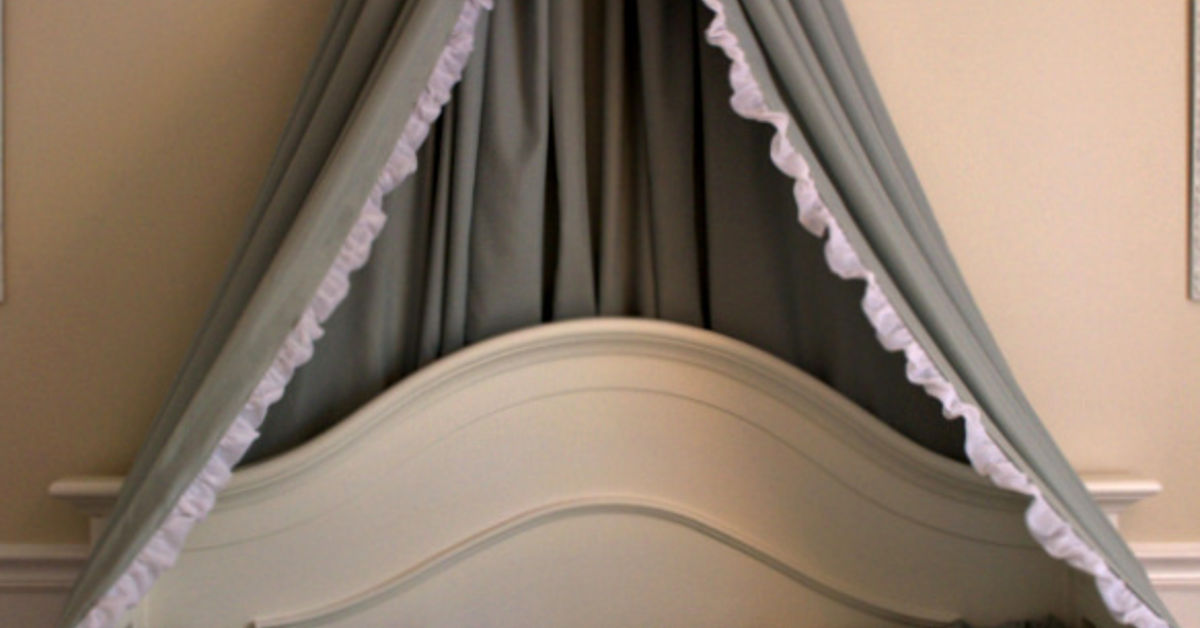 Diy bed crown crib canopy tutorial hometalk for Diy canopy over crib