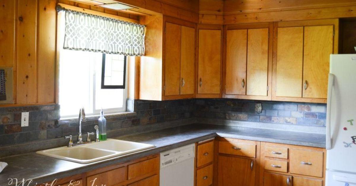 diy concrete counters over existing laminate hometalk. Black Bedroom Furniture Sets. Home Design Ideas