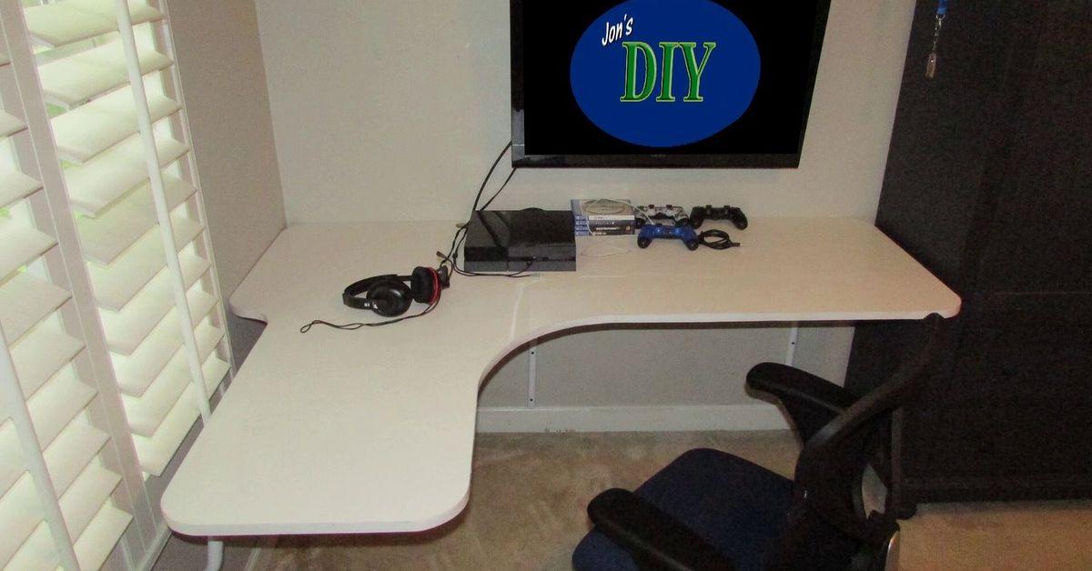 floating wall mounted corner desk hometalk. Black Bedroom Furniture Sets. Home Design Ideas