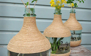 wine jugs and jute, crafts, repurposing upcycling