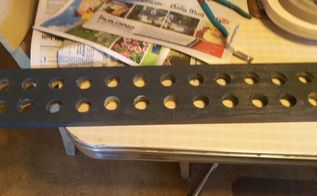 test tube spice rack, cleaning tips, storage ideas, This is the board I used with drilled out holes for the test tubes I had to re drill the holes because the paint swell the holes I used a dremel and fit the tube in each hole