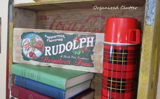 rustic christmas vignettes in the den, seasonal holiday d cor, A Christmas crate label and more thermoses in crates
