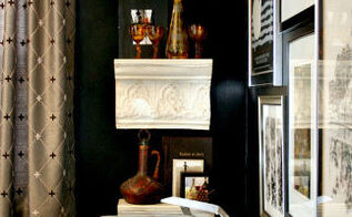 make new shelving from vintage metal crown molding, diy, how to, repurposing upcycling, shelving ideas, I like they way they look against the black wall