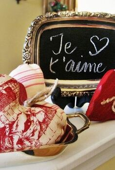 ticking and toile hearts and a frenchy valentine chalkboard, chalkboard paint, crafts, home decor, seasonal holiday decor, valentines day ideas