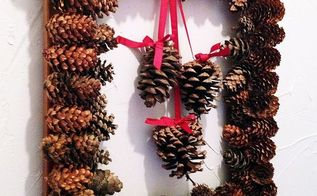 picture frame pine cone wreath, crafts, repurposing upcycling, seasonal holiday decor, wreaths, The final results of all those years
