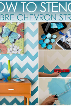 how to stencil chevron stripes with ombr pattern, diy, home decor, how to, paint colors, painting, wall decor, How to Stencil Zig Zag Chevron stripes in an Ombr Pattern