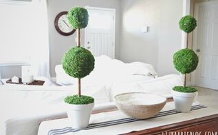 diy moss topiaries, crafts, home decor, Items you will need sheet moss topiary form pots hot glue stain paint optional