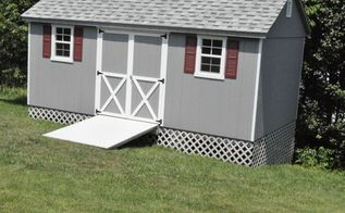 building a shed foundation, diy, home improvement, After the shed was delivered we built a ramp and added lattice