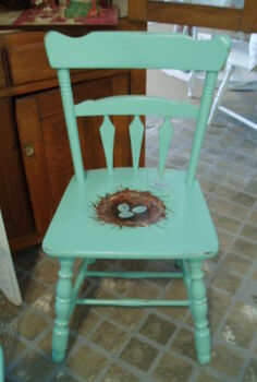 nest chair, painted furniture, Cast off chair becomes a nested cutie
