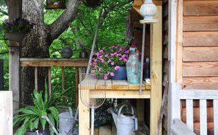 diy garden bench, diy, gardening, outdoor living, woodworking projects, An inspiring place for vintage watering cans baskets and garden tools