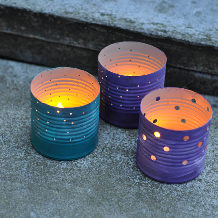 upcycled tin can luminaries hometalk