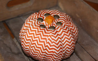 chevron fabric pumpkin, crafts, decoupage