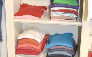 how to organize your closet, closet, organizing, I fold only a few things because I hate ironing I group these by color also