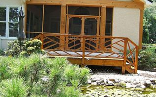 staining a deck with sikken s stain, decks, painting, porches, The stain color is Natural Oak It matches the cypress water treated wood well that forms the screened porch
