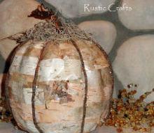 rustic birch pumpkin craft, crafts, decoupage, repurposing upcycling, seasonal holiday decor, The finished pumpkin