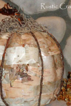 rustic birch pumpkin craft, crafts, decoupage, repurposing upcycling, seasonal holiday decor, The finished pumpkin