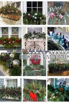 saturday sparks christmas window boxes, christmas decorations, seasonal holiday decor, windows