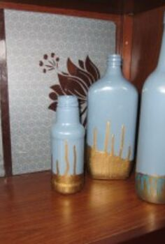 painted dipped bottles, crafts, painted and dipped