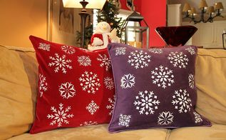 diy stenciled pillows for the holidays, crafts, painting, seasonal holiday decor, Here is another set of pillows I made using my snowflake stencil from my table runner project get creative and have fun