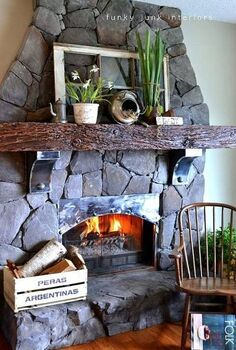 a spring fireplace mantel that never wilts, fireplaces mantels, flowers, home decor, An old window from my parent s farm created the main focal point to this cozy corner
