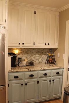 kitchen renovation, home decor, kitchen backsplash, kitchen design, Great new cabinet colors hardware granite and tile backsplash