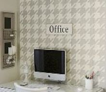 stenciled office, painting, Gorgeous Houndstooth Stenciled office space