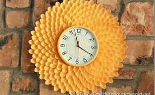 make a chrysanthemum clock from plastic spoons, crafts, Make a beautiful Plastic Spoon Chrysanthemum Clock