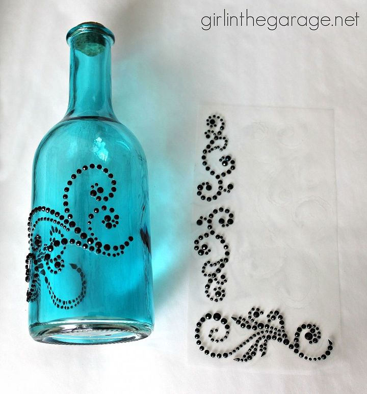 bejeweled bottles pinterest inspired craft from michaels crafts home decor peel off the - Pinterest Home Decor Crafts