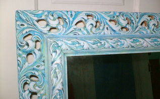french caribbean mirror makeover, crafts, Added drybrushed layers of lime green Caribbean blue and white in that order for the finished effect