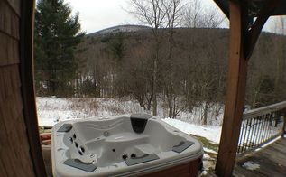 hot tub installation in the snow bullfrog spa installedon a second story deck in, outdoor living, pool designs, spas, Bullfrog Spa installed next to a raised deck We raised this spa up 18 to make it easy to get into
