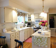 kitchen makeover, cleaning tips, home decor, kitchen cabinets, kitchen design, kitchen island, shelving ideas, Kitchen cabinets were oak I painted them white