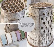 antique grater turned flower vase, flowers, gardening, repurposing upcycling, Use an antique grater as a flower vase
