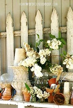 don t fence me in using garden fences as decor, home decor, repurposing upcycling, fence sections hung as wall art as part of a spring vignette