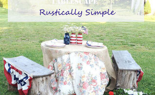 memorial day rustic tablescape, crafts, mason jars, patio, seasonal holiday decor