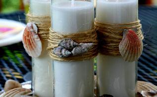 diy beach theme candles, crafts, home decor