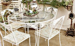 spring solar table center piece wrought iron table recovered cushions, home decor, outdoor furniture, outdoor living, painted furniture, New recovered cushions with fabric napkins and sealed with Thompson Fabric sealer