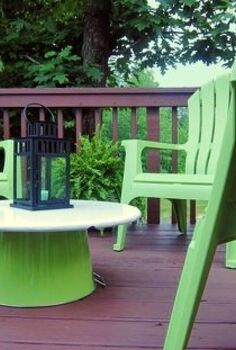 an inexpensive bright green outdoor update, decks, outdoor furniture, outdoor living, painted furniture, Turn a drink tub into a low coffee table
