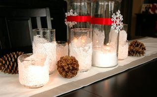 diy snow drift candle holders, crafts, decoupage, seasonal holiday decor, Use them alone or arrange several of them on a tablescape with pinecones and other winter decor