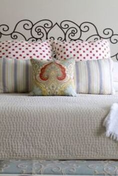 faux french head board from a decal, bedroom ideas, home decor, wall decor, It took three of us to place the decal on the wall so that it would be straight