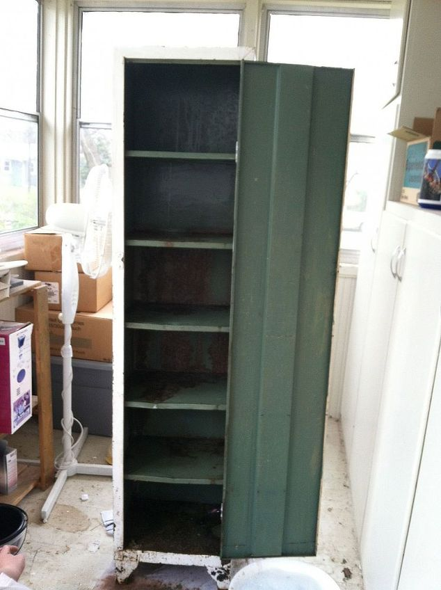 old metal cabinet turned into pantry, painted furniture, I got this cabinet  at a - Old Metal Cabinet Turned Into Pantry Hometalk