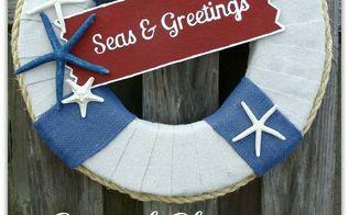 coastal christmas wreath with free printable of seas greetings, christmas decorations, crafts, seasonal holiday decor, wreaths, Fun Coastal Christmas Wreath
