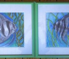 my art did these for the foyer in the myrtle beach house, home decor, painting, Angelfish