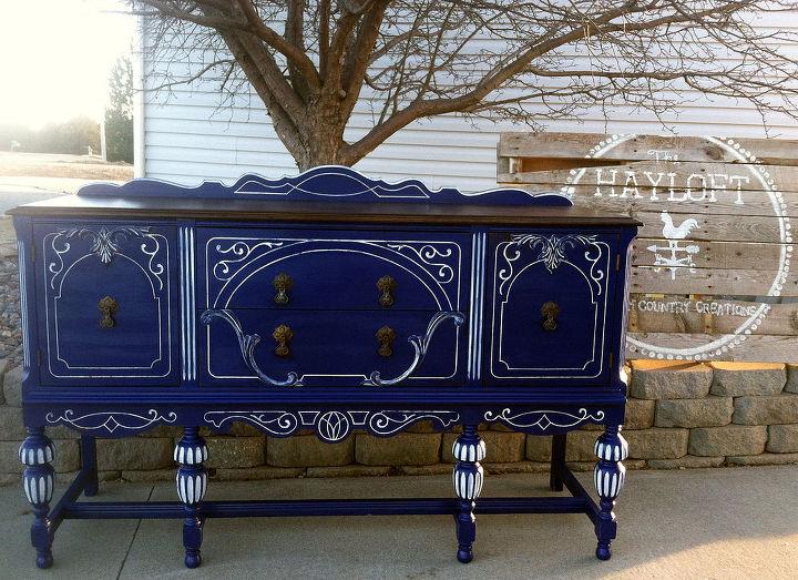 Hand Painted Blue Buffet Hometalk
