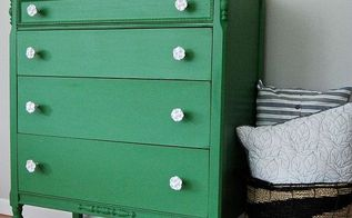 a mossy green dresser with white rose knobs, painted furniture, shabby chic, The Weathered Door A Mossy Green Dresser with White Rose Knobs