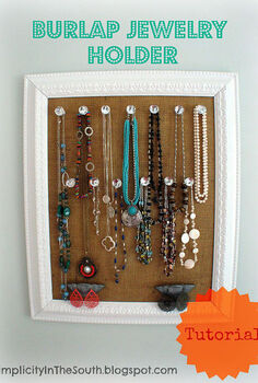 burlap jewelry holder with crystal knobs, cleaning tips, crafts, decoupage, DIY Framed Burlap Jewelry Holder