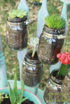 salvaged chair garden planter, gardening, mason jars, repurposing upcycling, succulents, succulents in jars